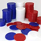 GiftExpress Lot of 300, plastic poker chips for kids to play, learn math, bingo game, red, white and blue 100 pieces each