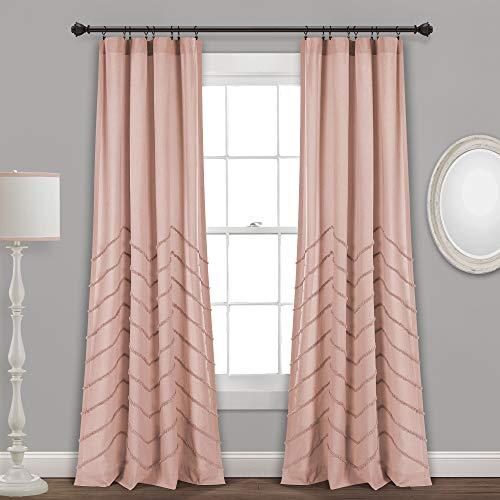 "Lush Decor Blush Chenille Chevron Window Curtain Panel Pair (84"" x 40"")"