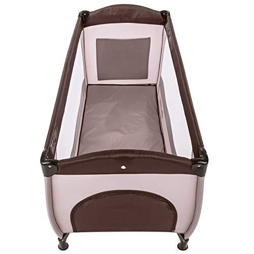 TecTake Kinderreisebett mit Schlafunterlage und praktischer Transporttasche – diverse Farben – (Coffee | Nr. 402417) - 3