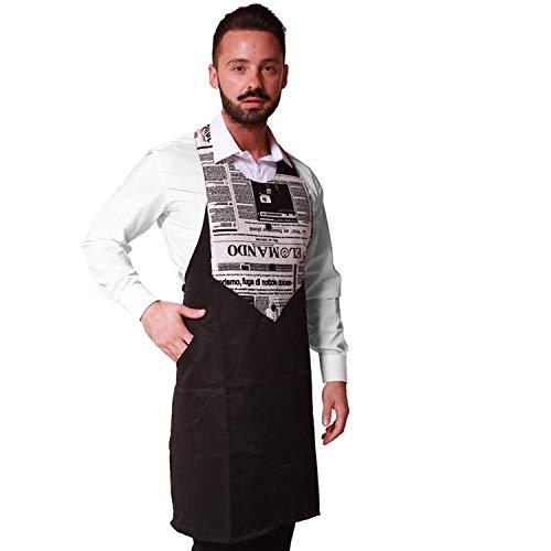 Fratelli ditalia Grembiule paravanti uomo divisa cameriere ristorante sala bar bistrot enoteca vineria pub made in italy capo antistiro antimacchia idrorepellente (Nero)
