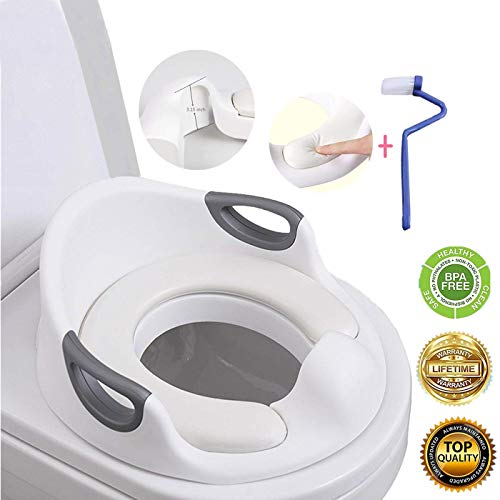 Potty Training Seat for Boys and Girls |Mommy's Helper Toddlers Toilet Seat | with Soft Cushion Handles Toilets Double Anti-Slip Design and Splash Guard for Boys and Girls (White)