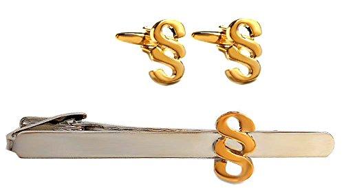 Unbekannt Paragraphen Set Manschettenknöpfe Krawattennadel Knöpfe § vergoldet + Krawattenklammer Paragraph - Jura-Symbol Bicolor + Geschenkboxen