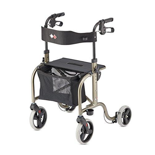 Bischoff&Bischoff RL-Smart Rollator, faltbar – Leichtgewicht-Rollator für drinnen und draußen, Gehwagen mit abnehmbarer Tasche und Stock-Halter, Platin