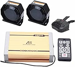 AS 2100W Propagandistic Vehicle Siren Kit AS830E2-SPK0022 5-Piece Pack 20 Tones with Siren Box Speaker Dual Wireless Remotes Can Play Custom-made MP3 Tones fit for Police Fire Fighting Ambulance Cars