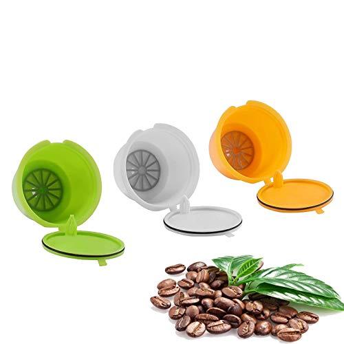 AEUWIER Cápsula de café Recargable Reutilizable, 3 cápsulas Coloridas de café por Dolce Gusto, Tazas de Filtro de café sin BPA para por Dolce Gusto