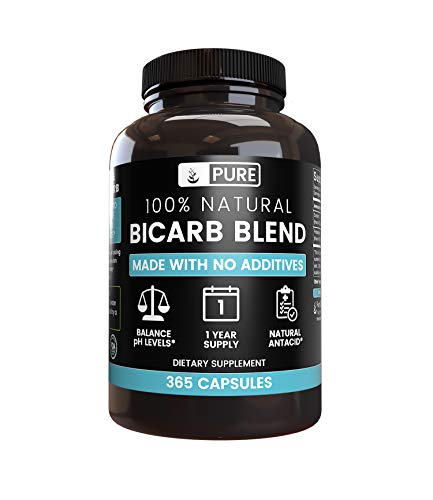 Natural Bicarb Blend, 1-Year Supply, 365 Capsules, No Fillers, No Additives, Gluten-Free, Made in The US, 825 mg of Undiluted & Sodium Bicarbonate & Potassium Bicarbonate Powders