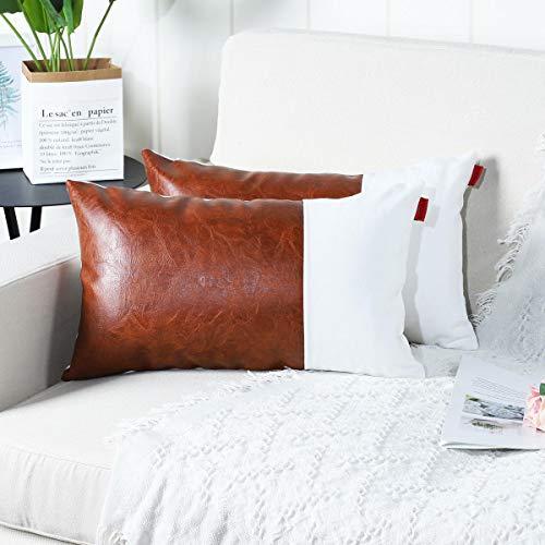 Mandioo Pack de 2, Fundas de Cojín Decorativas de Algodón y Cuero Artificial,Fundas de Cojín para Sofá, Dormitorio, Funda de Cojín para Coche 12x20Pulgada 30x50cm Marrón y Blanco.