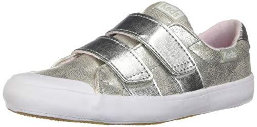 Keds baby girls Courtney Hook & Loop Sneaker, Silver, 8 Toddler US