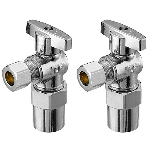 """Minimprover 2 Pack Lead Free Brass Chrome plated 1/2"""" CPVC x 3/8 Inch OD Compression Quarter Turn 90 Degree Water Angle Stop Valve Shut Off -  H080-2"""