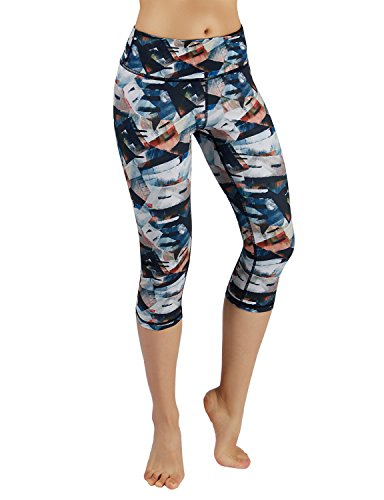 ODODOS Power Flex Printed Yoga Capris Tummy Control Workout Non See-Through Pants with Pocket,FineArt,Small