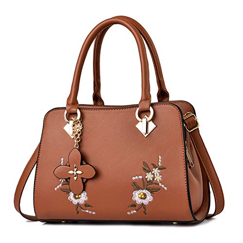 BeniNew big capacity flowers embroidery hanging handbag handbag-Khaki
