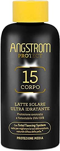 Angstrom Protect Latte Solare Ultra Idratante, Protezione Solare 15 con Azione Nutriente, Migliora la Naturale Abbronzatura, Indicata per Pelli Sensibili, 200 ml