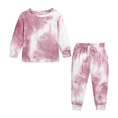 YYXDP Kinderpyjama-Set, Zweiteilige Anzugkleidung Mit Tie-Dye-Print, Langarmhose...