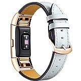 LouisRach Compatibile con Fitbit Charge 3 Strap Pelle/Fitbit Charge 4 Strap Pelle/Fitbit Charge 3 SE Straps Soft Leather Braccialetto con Cinturino in Colore Unico per Donne/Uomini