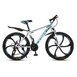 XUELIAIKEE 26 Inch Adultoo Bicicleta De Montaña,MTB Acero Al Carbono Rígida Bicicletas De Montaña Freno De Disco Doble Adultoo Bicicleta De Montaña con Suspensión Delantera-O 27 Velocidad