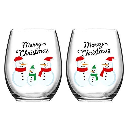 Merry Christmas Snowmen Stemless Wine Glass Set, 15 Oz Funny Stemless Wine Glasses for Women Friends Men, Gift Idea for Christmas Wedding Party, Set of 2