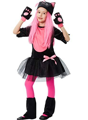 Tacobear Disfraz Halloween para Niños Disfraz de Gato Lindo del día de Los Muertos Chica Cosplay Disfraces Dracula Halloween Carnaval (M (7-8 años))
