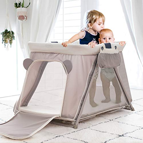 FUNNY SUPPLY 31 Pack n Play with Mattress and Sheet Portable Lightweight Sturdy Travel Cot Baby Travel Crib Push Button Compact Fold Easy to PackYard Khaki Color
