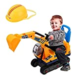 AYNEFY Bagger Kinder Spielzeug Sitzbagger mit Sitz und Helm Aufsitzbagger...