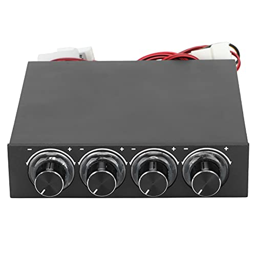 Aoca Controlador de Velocidad del Ventilador, Controlador de Ventilador de refrigeración de 4 Grupos, reducción de Ruido, Controlador de Velocidad PWM Multifuncional 5V-12V, Ajuste Libre, para PC
