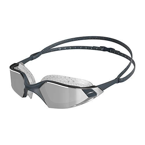 Speedo Schwimmbrille Aquapulse Pro Mirror, Schwimmbrille für Herren und Damen, Grau/Silber/Chrom, Einheitsgröße