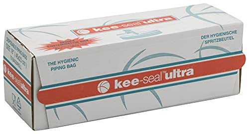 KEE-SEAL ULTRA Disposable Pastry Bags, Piping Bag with Non-Slip Outer Surface, Smooth-Flow Interior, Easy Tear Perforation, Convenient Dispenser Box, 18-Inch, Clear