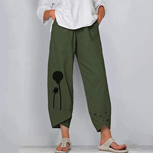Yivise Women's Floral Print Cotton Linen Baggy Pants Summer Casual Loose Beach Jogger Workout Yoga Harem Pants Trousers Green