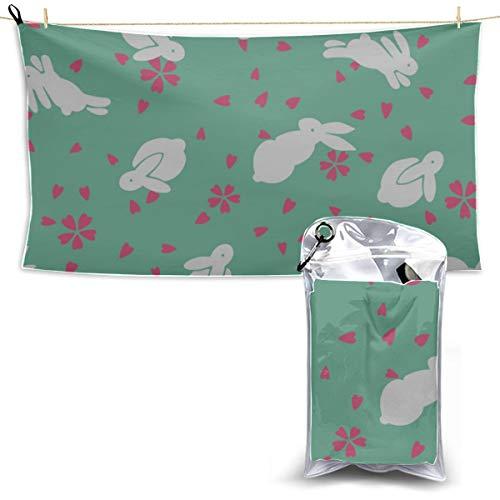 N\A Cute Cartoon Childlike Rabbit Toalla de Microfibra Larga Toalla de Microfibra Estampada Toalla de Playa de Microfibra para niños Toallas de Microfibra Baño 27.5 '' X 51 '' (70 X 130cm) Mejor