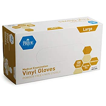 Med PRIDE Medical Vinyl Examination Gloves  Large 100-Count  Latex Free Rubber   Disposable Ultra-Strong Clear   Fluid Blood Exam Healthcare Food Handling Use   No Powder