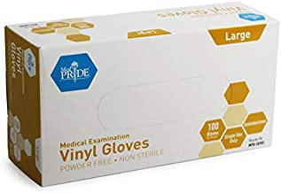 Medpride Medical Vinyl Examination Gloves (Large, 100-Count) Latex Free Rubber   Disposable, Ultra-Strong, Clear   Fluid, Blood, Exam, Healthcare, Food Handling Use   No Powder