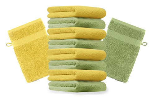 Betz Lot de 10 Gants de Toilette Taille 16x21 cm 100% Coton Premium Couleur Vert Pomme, Jaune