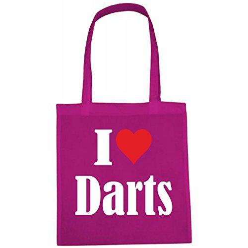 Tasche I Love Darts Größe 38x42 Farbe Pink Druck Weiss