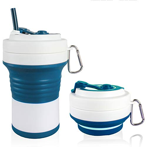 All you need is love- Best Value Set of 2Pcs 25oz High Capacity Collapsible Travel Cup with Straw- Silicone Folding Portable Camping Sport Cup, Expandable Scald-Proof Drinking Cup Fits in Your Pocket