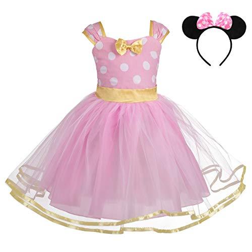 Lito Angels Nias de Lunares de Minnie Vestir de cumpleaos Disfraz Halloween de Fiesta Vestidos de tut con Diadema Orejas Talla 3-4 aos Rosa