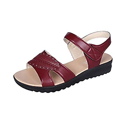 RAINED-Women's Flat Sandal Walker Sandal Ladies Flip Flops Sandals Retro Outdoor Belt Buckle Sandals
