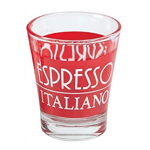 Set 6 Bicchierini Caffè In Vetro Espressino Italiano Rosso