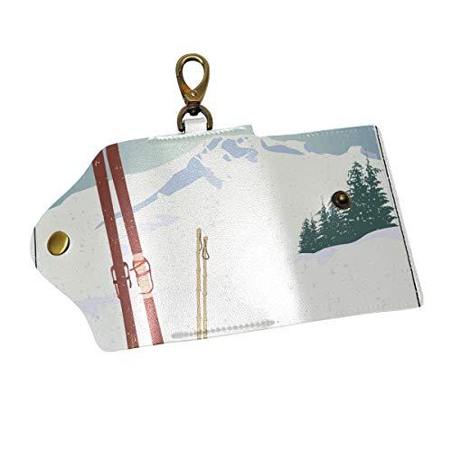 COOSUN bergen en oude Snowboard lederen sleutelkast portemonnees drievoudige sleutelhouder sleutelhangers met 6 haken 2 Slot Snap sluiting voor mannen vrouwen