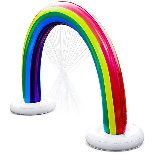 SFBOHEM Sprinkler Inflable del Arco Iris, Aspersor De Arco Al Aire Libre, Juguete Gigante De Agua Divertido para Niños, Adecuado para Al Aire Libre, Patio, Verano