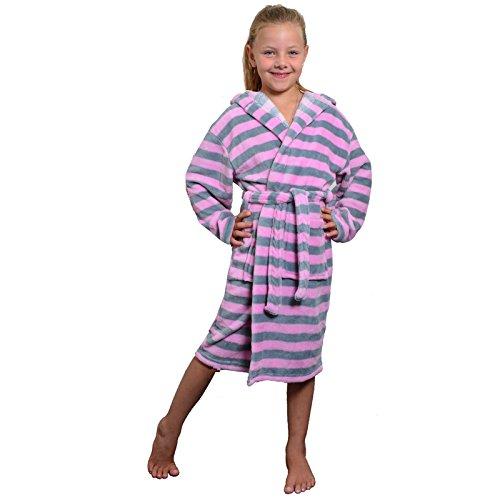 JEMIDI Microfaser Bademantel für Damen Mädchen gestreift Rosa/Grau L