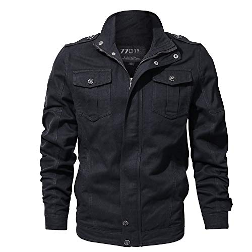Buy Discount jin&Co Men's Autumn Winter Outwear Pure Color Breathable Plus Size Washing Bomber Jac...