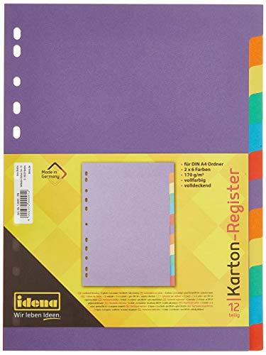 Idena 10091 - Register aus Karton, 170 g/m², DIN A4, 12-teilig, bunt, 1 Stück