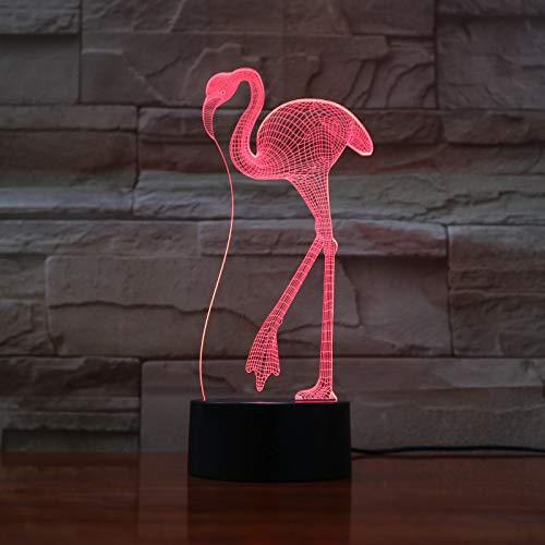 Flamingo Illusion-nachtlampje, 3D led-tafellamp, bureaulamp, 7 kleuren, USB opladen, bedlampje, slaapkamer-decoratie voor kinderen, Kerstmis, verjaardagscadeau