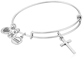 Alex and Ani Divine Guides Expandable Bangle Bracelet for Women Cross Charm Rafaelian Silver Finish 2 to 3.5 in