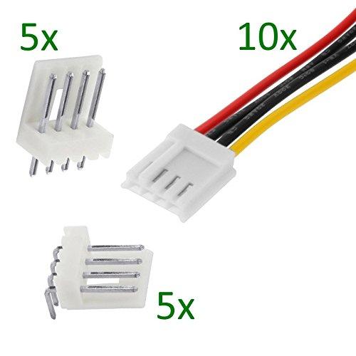Xenterio Platinen-Steckverbinder-Set, 4-polig, 10 Stiftleisten/10 Buchsenleisten m. Kabel