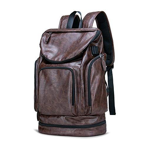 Mochila PU Leather Anti Theft Laptop Mochila Bolsa 17 Inch 15.6 '' Notebook Hombres Mujeres Mochila Hombre Impermeable USB Outdoor Travel Model1-Brown