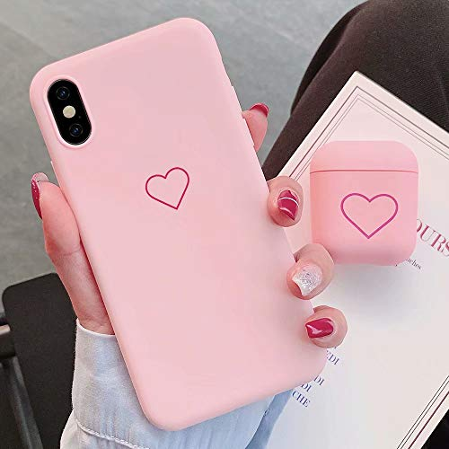 for AirPods Case + iPhone Xr Case Cover Skins Set Fashion Cute Love-Heart Pattern Matte AirPods Shock Proof Protective Resistant Cases for AirPods 1 & 2,Pink