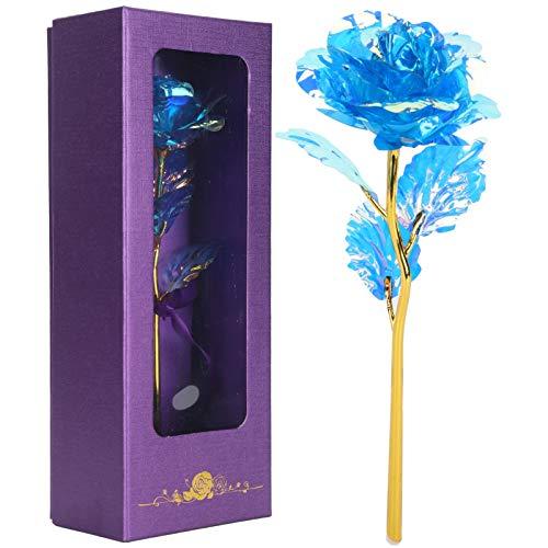 Jingyig Flor de Rosa Artificial Colorida, decoración casera Bien Fabricada, Flor de Rosa Transparente, Regalo para la Esposa y la Novia, Sala de Estar Duradera con una(Blue Color)