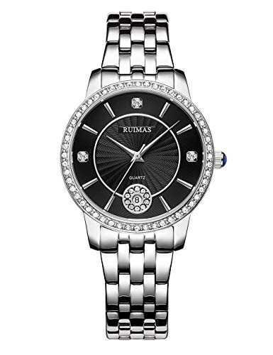 Reloj Fino Mujer Cuarzo Analógico Esfera de Cristal Estrellado Fecha Calendario Correa de Acero Inoxidable Reloj Redondo Resistente al Agua Elegante