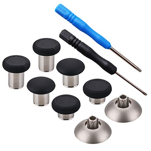 YoRHa 8 en 1 Metal magnético Thumbsticks Analog Sticks Joysticks Reparación de Repuesto Kits(Negro) para PS4/Slim/Pro & Xbox One/Elite/X/S Mando con Destornilladores