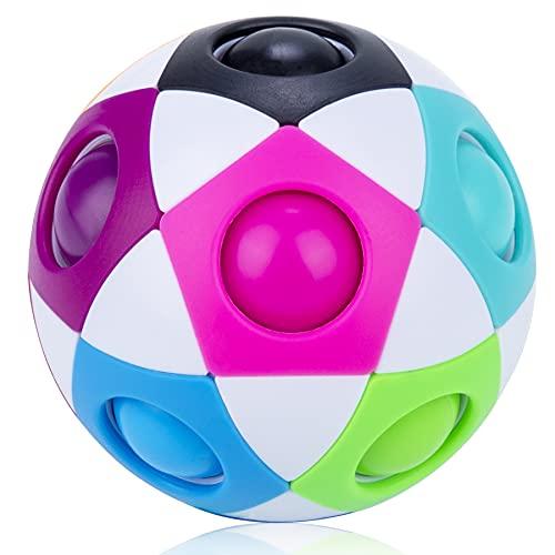 Mamowla Magic Rainbow Ball New 3D Puzzle Ball Arco Iris Pelota Juguetes Educativos Speed Cube Rainbow Puzzle Ball Pelota Mgica Arco Iris Desarrollar La Inteligencia para NiñOs Y Adultos Blanco